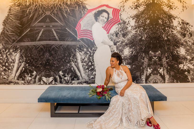 Bride with art backdrop