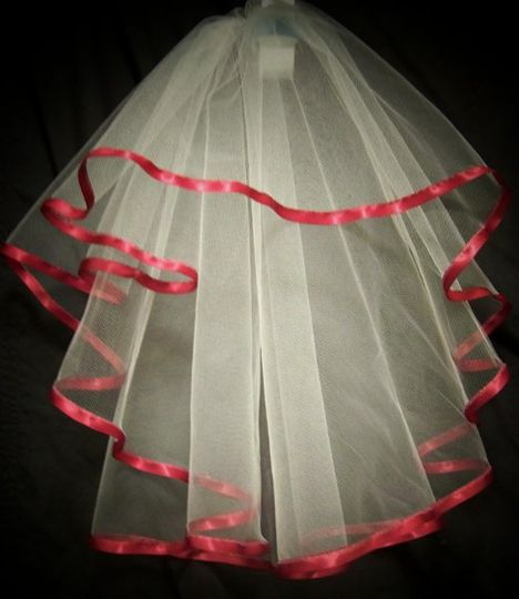 """This is a very cute shoulder length, full circle cut veil with white tulle and trimmed with 3/8""""..."""