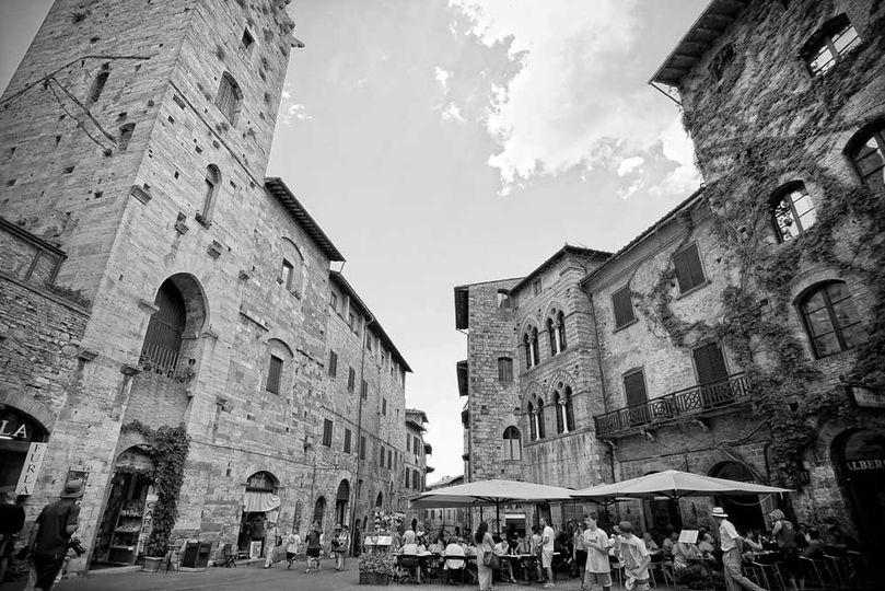 wedding reception in a ancient village square