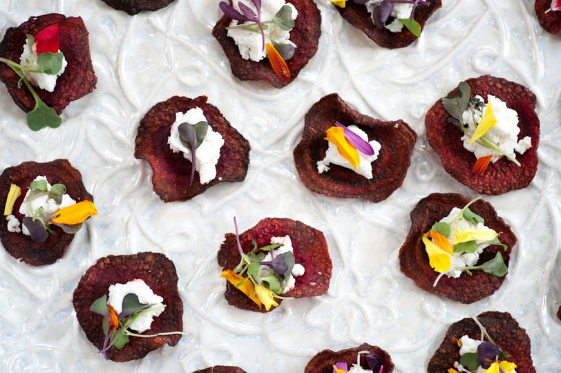 Goat Cheese with Edible Flower