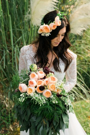 Matching floral crown and bouquet