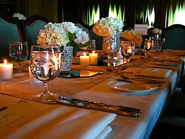 Table setup with centerpiece and candle