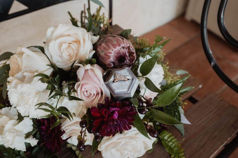 Protea and roses elegant