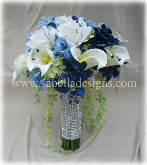Beautiful Brides bouquet consisting of high quality Real Touch roses, calla lillies, orchids, &...