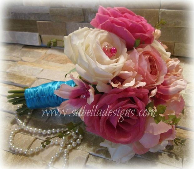 Vintage inspired Real Touch rose wedding bouquet with bead accents.