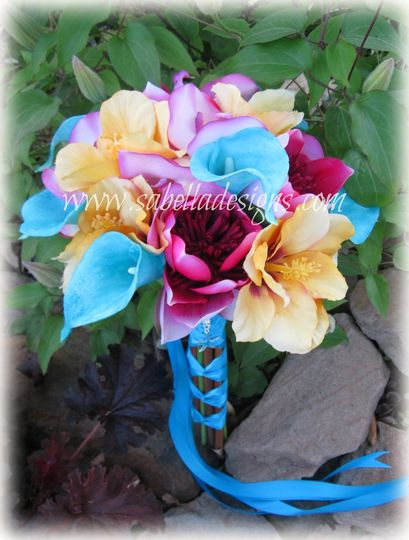 Tropical Lotus, Calla Lillies, and Hibiscus in Real Touch, Foramatique, and high quality silks make...