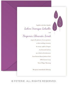 Modern Leaves Wedding Invitation 5x7 Flat Card with Coordinating Color Envelope Available in 6 color...