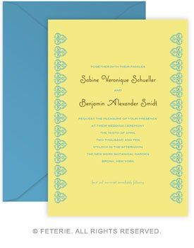 Casablanca Wedding Invitation 5x7 Flat Card with Coordinating Color Envelope Available in 6 color...