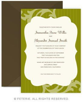Reverie Wedding Invitation 5x7 Flat Card with Coordinating Color Envelope Available in 6 color...