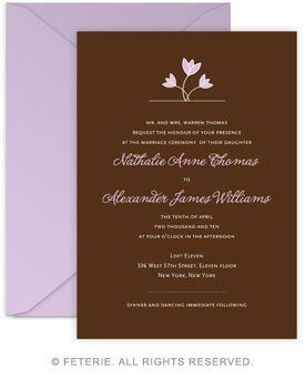 Tulip Wedding Invitation 5x7 Flat Card with Coordinating Color Envelope Available in 6 color...