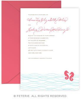 Nautiques Wedding Invitation 5x7 Flat Card with Coordinating Color Envelope Available in 6 color...