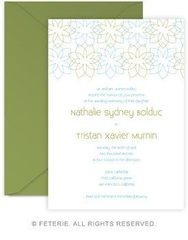 Fleurish Wedding Invitation 5x7 Flat Card with Coordinating Color Envelope Available in 6 color...