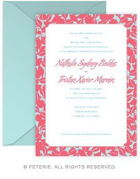 Botanique Wedding Invitation 5x7 Flat Card with Coordinating Color Envelope Available in 6 color...