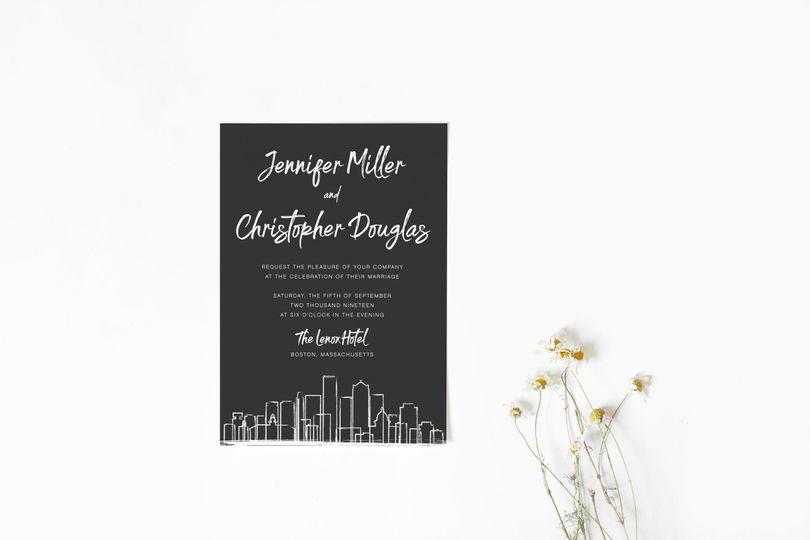 Boston wedding invitation