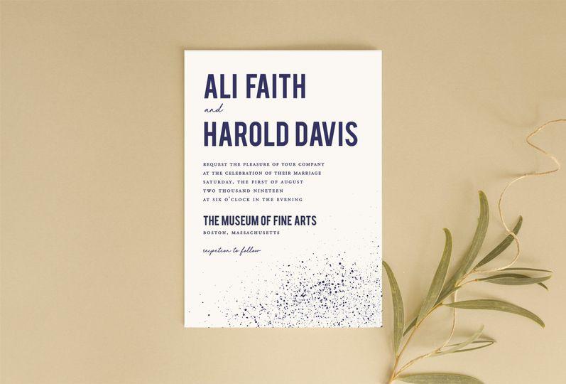 Speckled wedding invitation