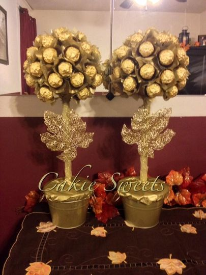 Ferrero Rocher topiaries. Perfect as a pair or a bunch. Can be displayed on a dessert or sweets...