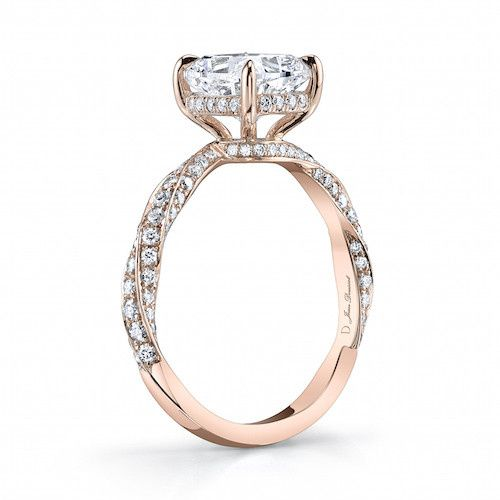 pirouette ii rose gold cushion cut diamond engagem