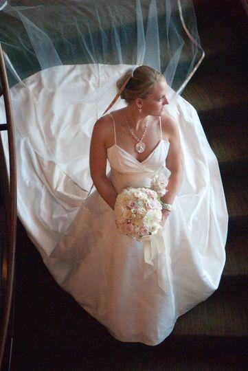 Bride portrait on stairs at Hyatt Regency Boston Harbor wedding. ©2018 Fort Point Media LLC, All...