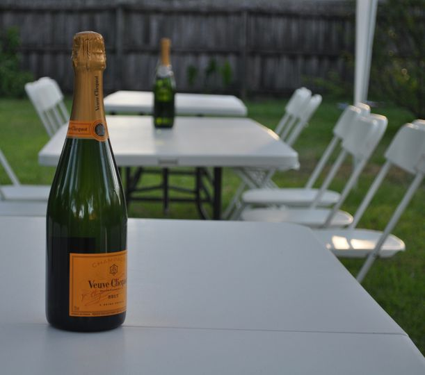Champagne and tent