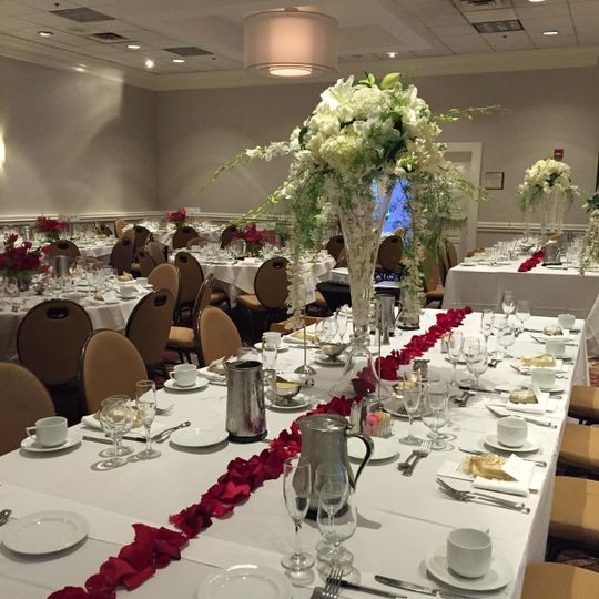 Long table setup and floral decor