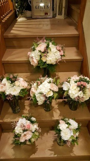Flowers by the stairs