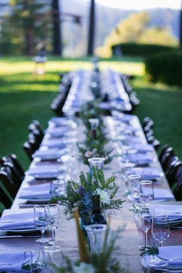 Long head table with centerpiece