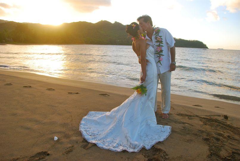 Beach wedding at Hanalei Bay, Kauai