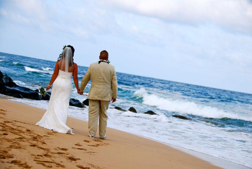 Beach wedding at Lydgate Beach, Kauai.