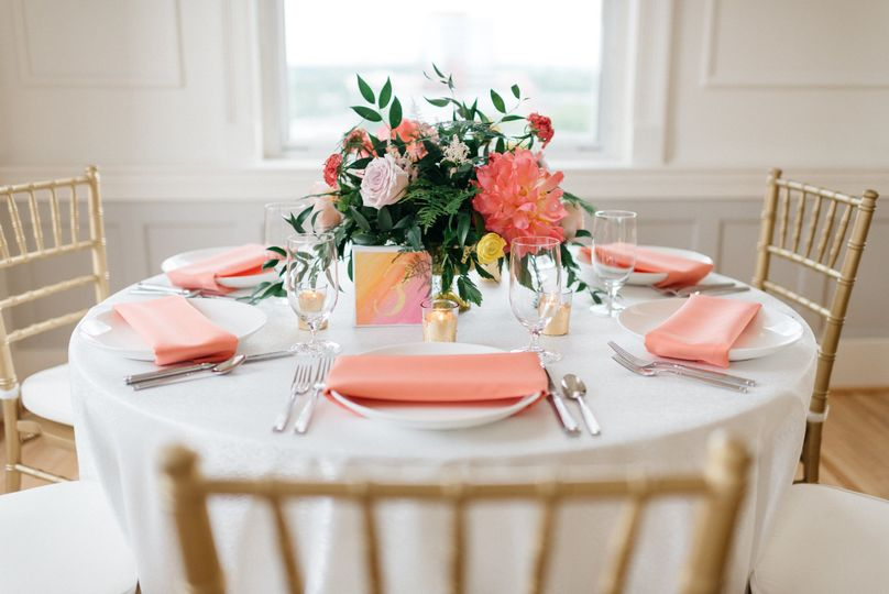 White and peach table setup