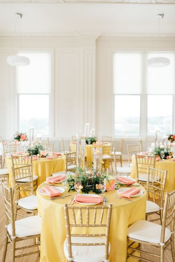 Yellow round table setup