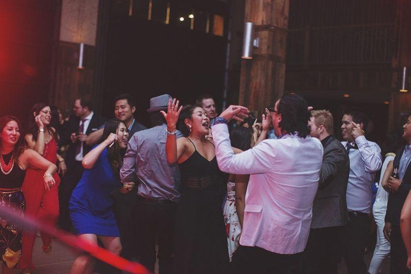 Wedding audience celebrating