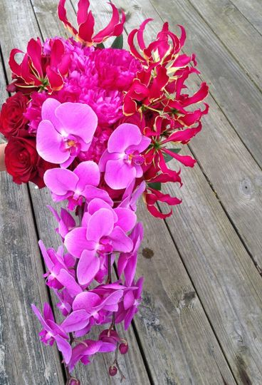 Pink Cascade - Phal Orchids, Gloriosa Lilies, Peonies, and Roses!