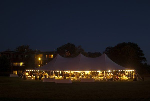 An outdoor tented reception