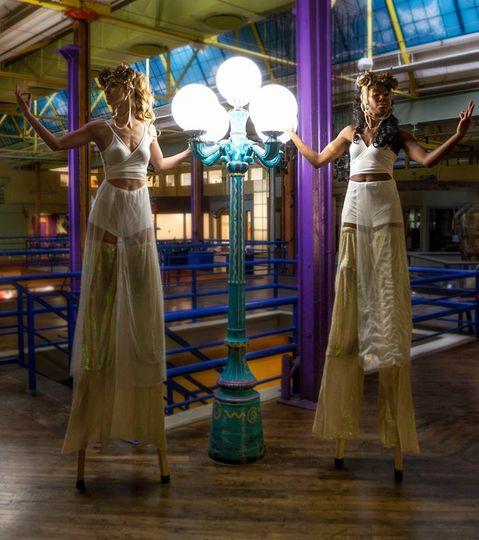 Goddess stilt walkers