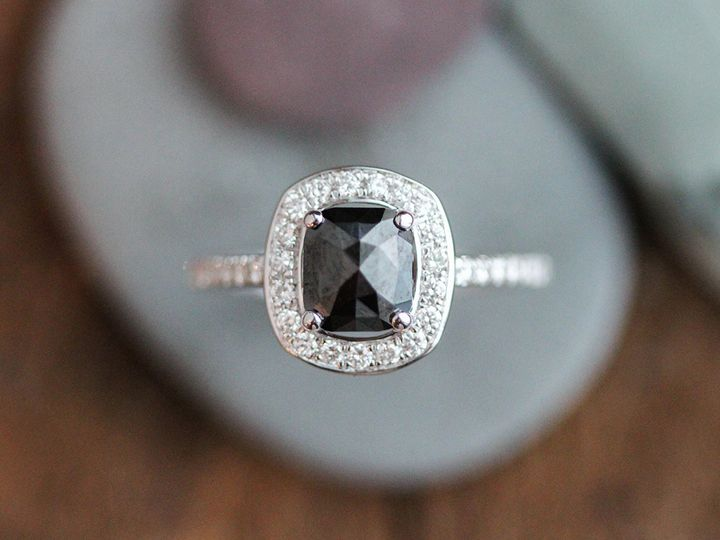Tmx 1452194238619 Cushion Rose Black Diamond Floating Halo Top Brooklyn wedding jewelry