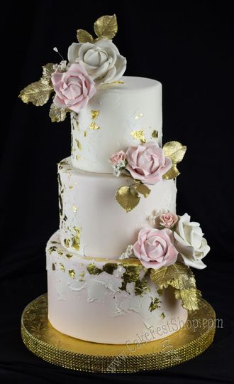 Blush and gold cake