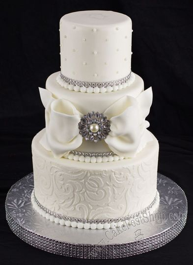 White and silver cake