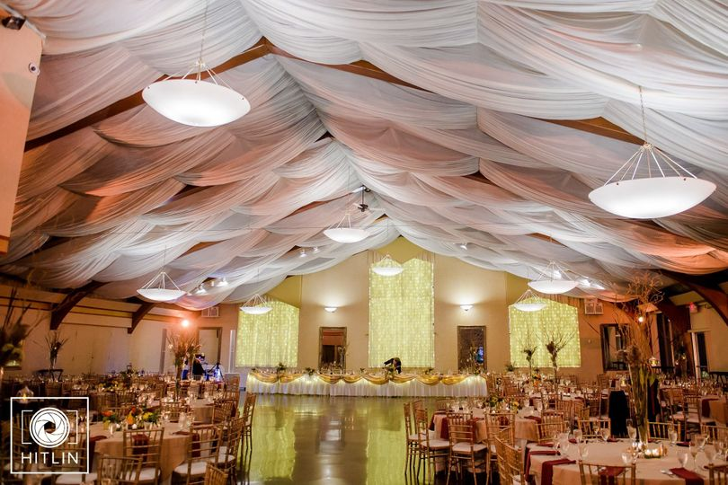 The Columbia Ballroom providing space for up to 450+ guests with soaring cloudlike ceiling, 5,400...