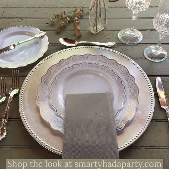 Can you believe that is all plastic dinnerware!  That's right, all of it is disposable! Perfect for...