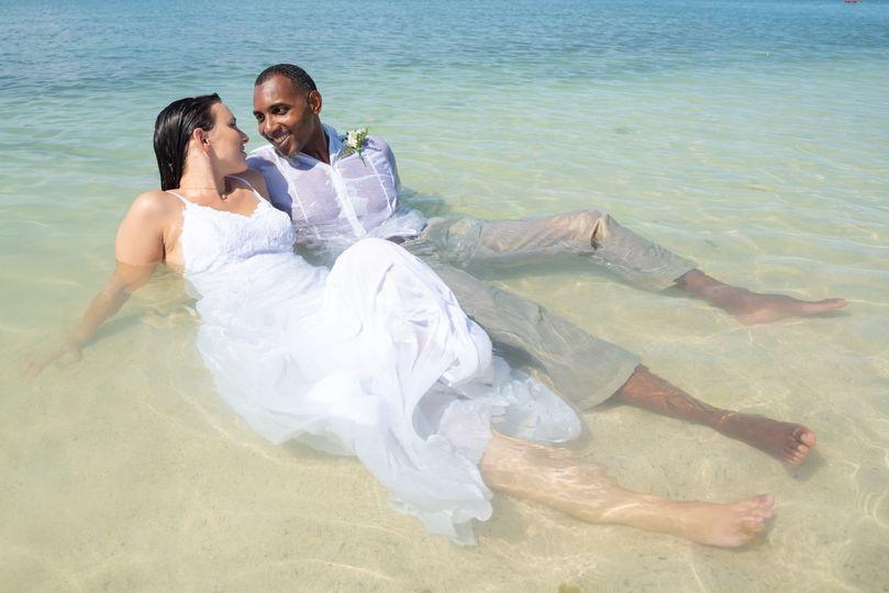 Beach wedding trash-the-dress