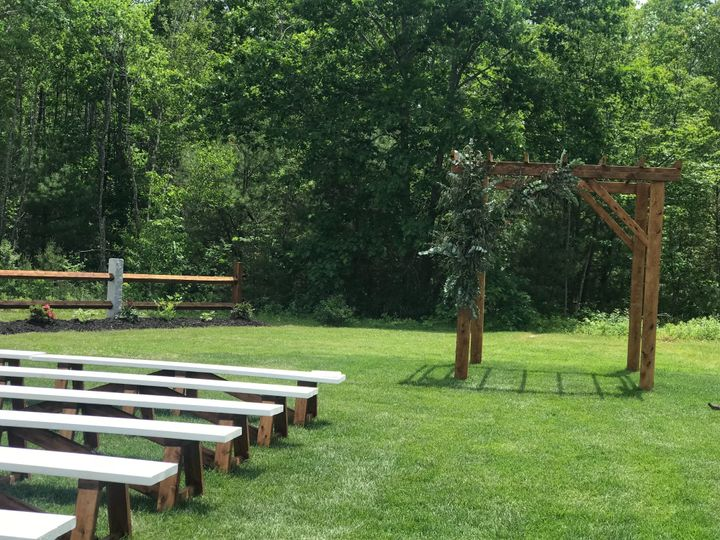 Benches and arbor for ceremony