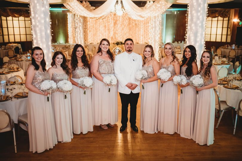Groom with the bridesmaids
