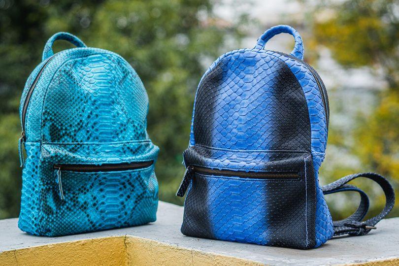 Vibrant snakeskin backpacks