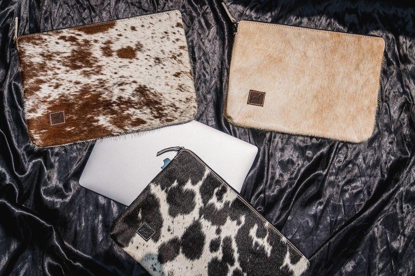 Sustainable cowhide laptop sleeves