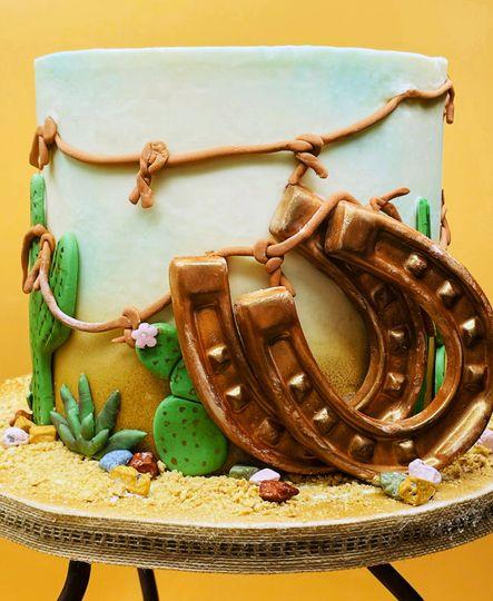 Cowboy boho wedding cake