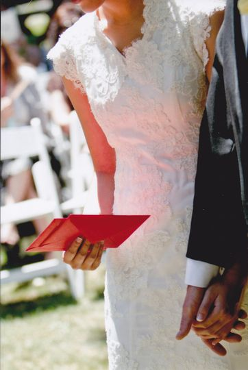 Bride holding red envelope