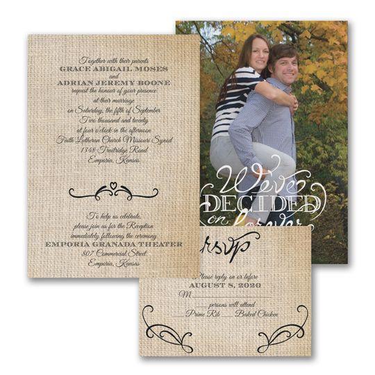 Love burlap invitations