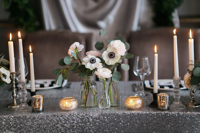 Candle lights and floral centerpieces