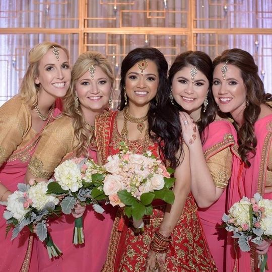 Beautiful bride and friends