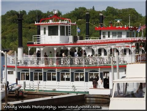 Wedding reception in Stillwater on the Anastasia riverboat following ceremony officiated by Judge...